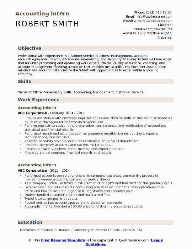 accounting student resume for internship