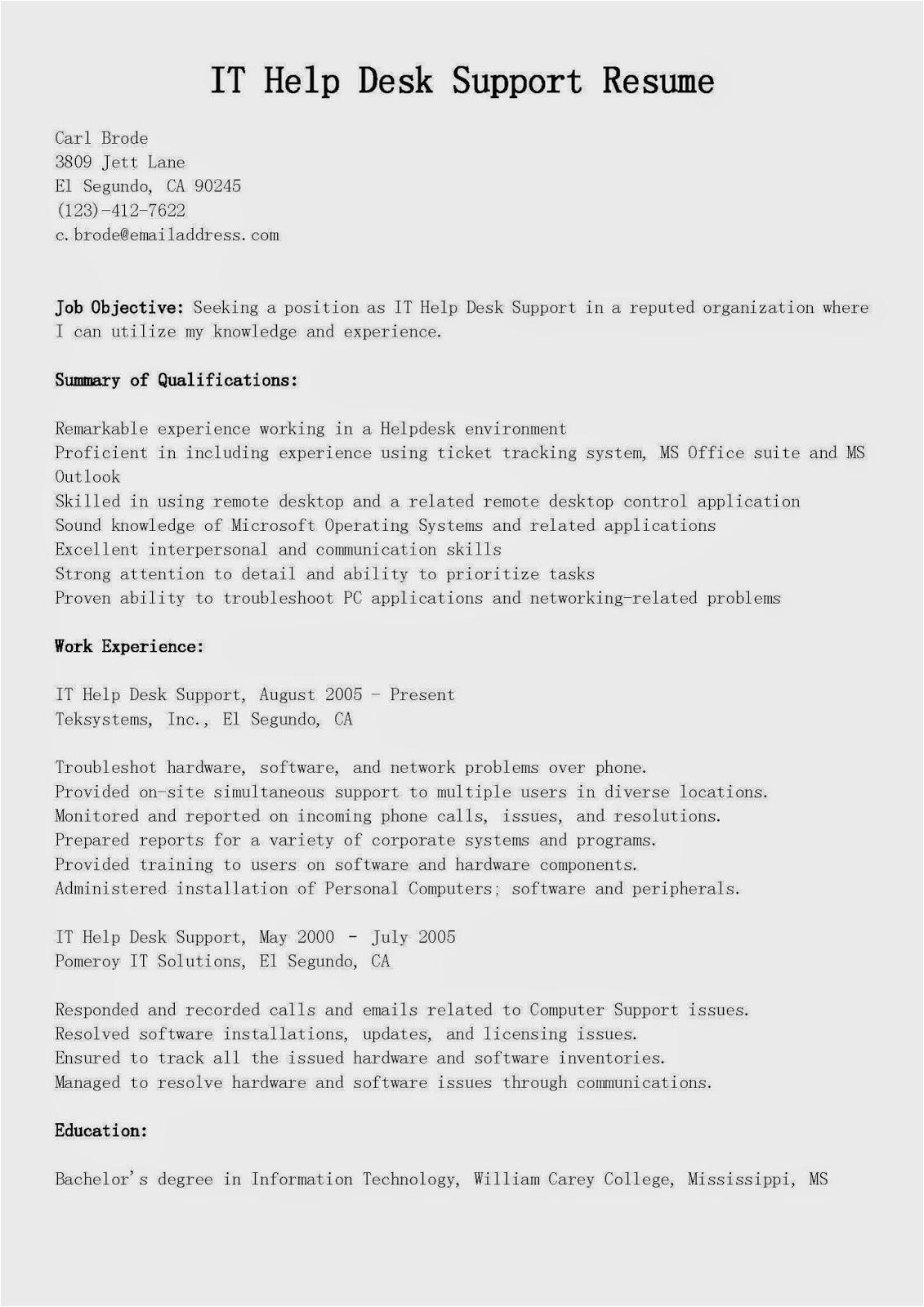 It Help Desk Support Resume Sample Resume Samples It Help Desk Support Resume Sample