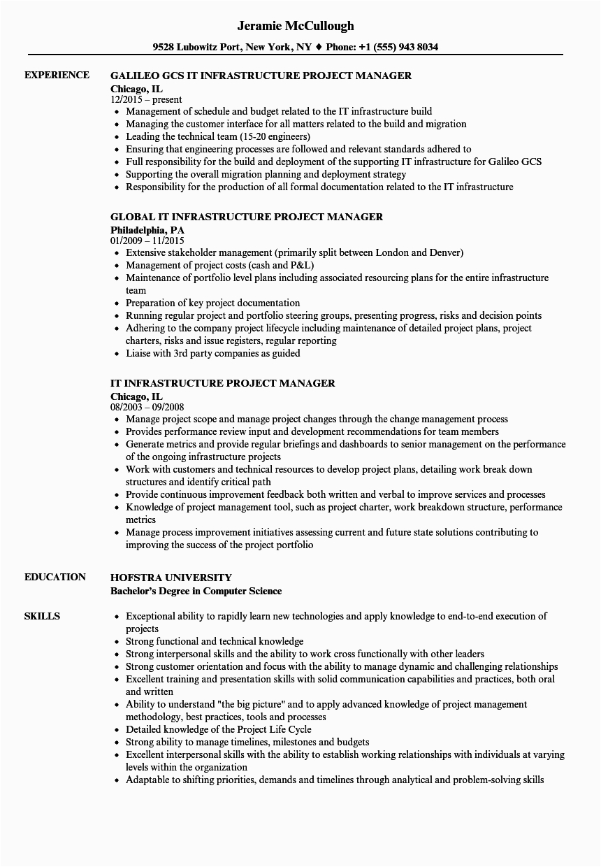 It Infrastructure Project Manager Resume Samples It Infrastructure Project Manager Resume Samples