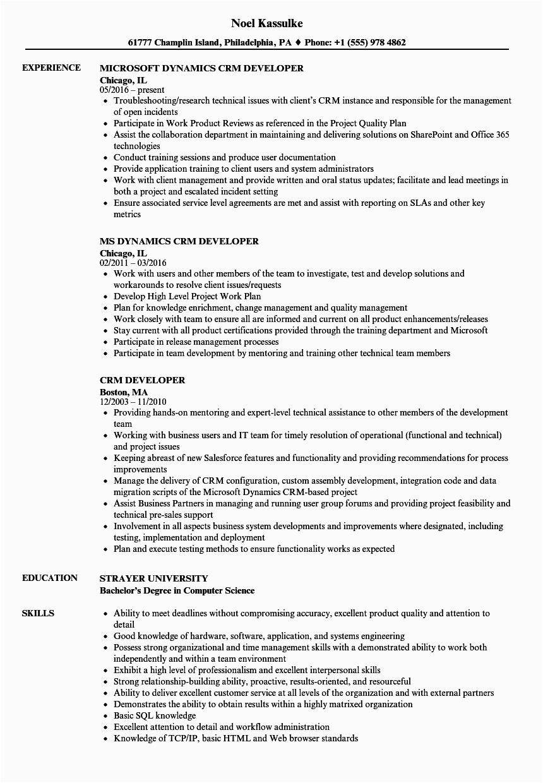 microsoft dynamics crm developer resume