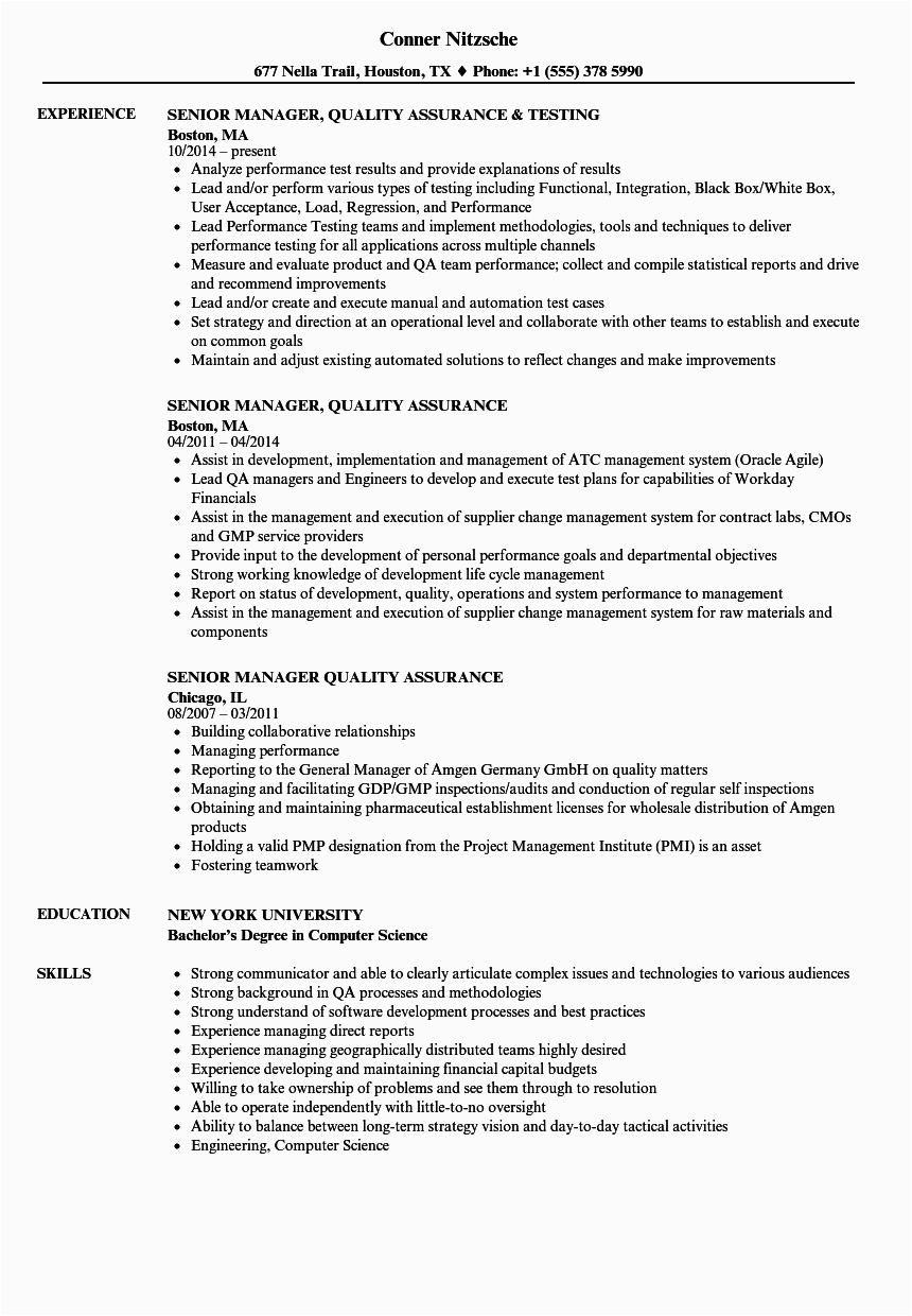 quality assurance resume template