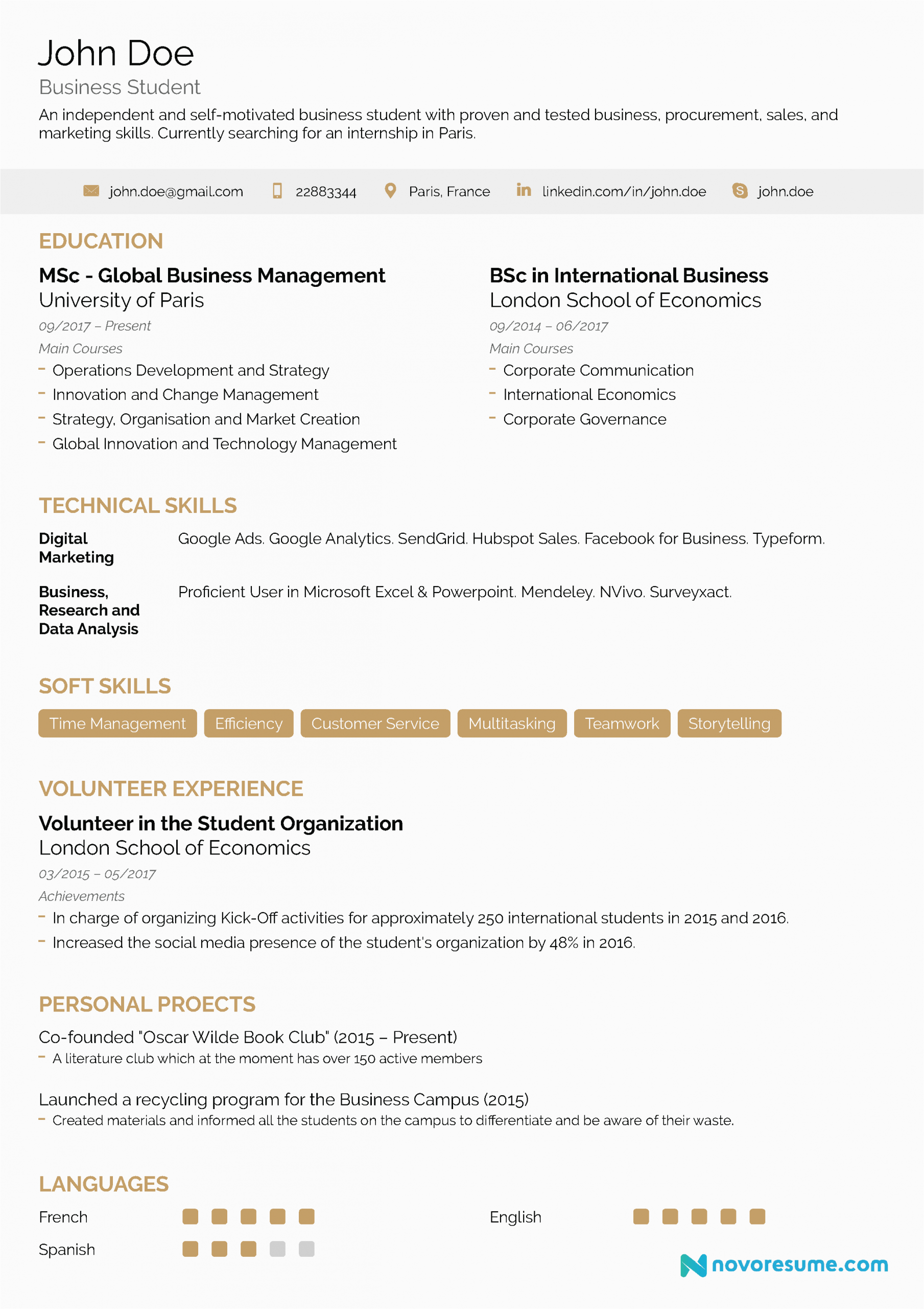 resume advice for students with no experience