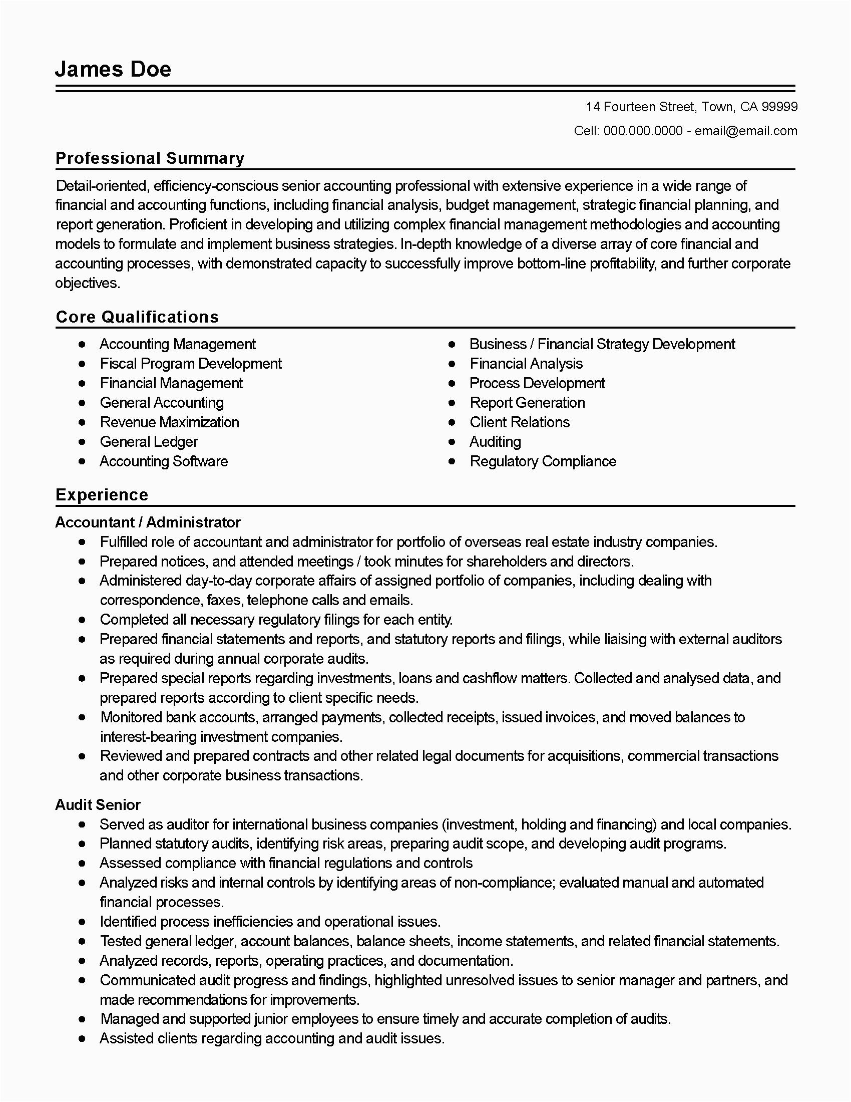 professional accountant resume database