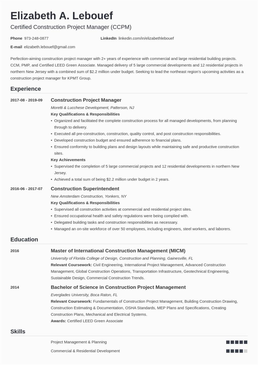 Project Manager Job Description Sample Resume Construction Project Manager Resume Sample & Guide