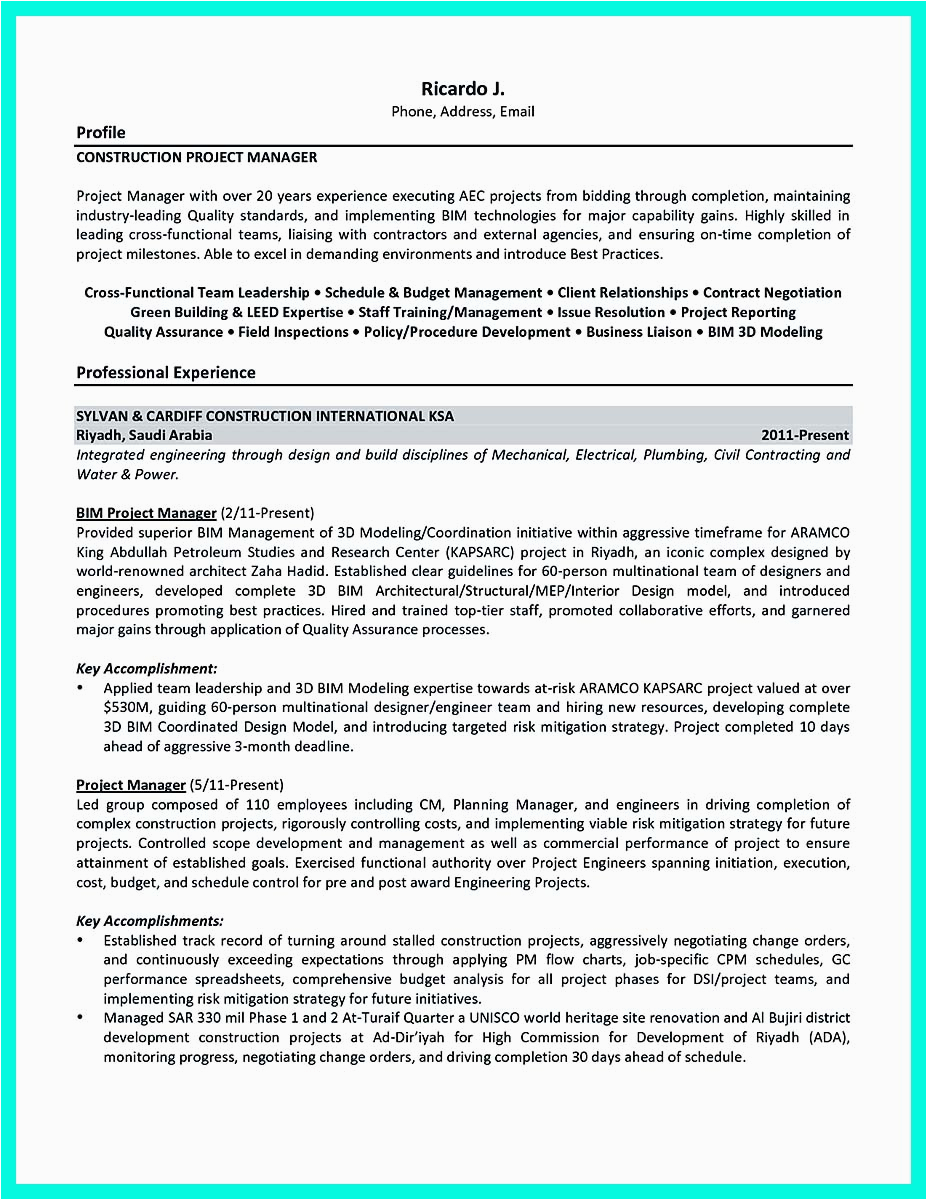 cool construction project manager resume applied