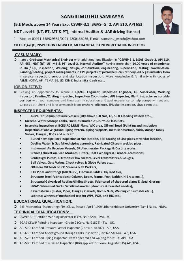 electrical qa qc engineer resume