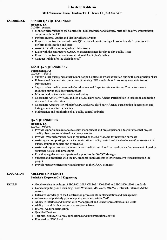 Qa Qc Electrical Engineer Resume Sample Electrical Qa Qc Engineer Resume Best Resume Examples