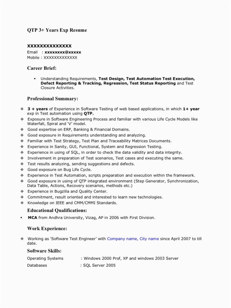 QTP 3yrs Sample Resume