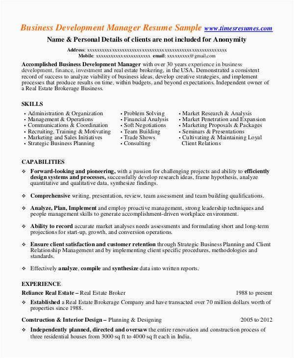 Real Estate Development Manager Resume Sample 32 Manager Resume Templates Pdf Doc