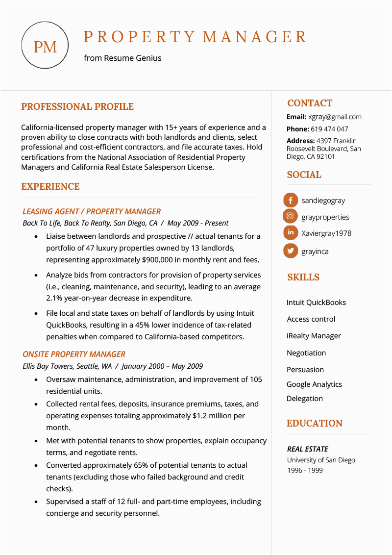 property manager resume example