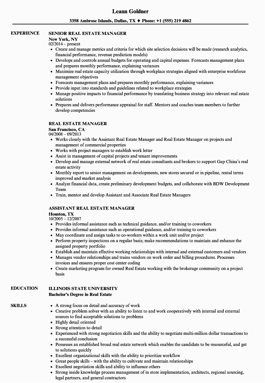 resume for brand new real estate agents