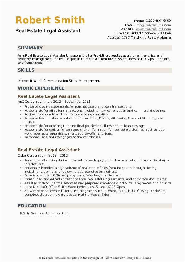 real estate legal assistant