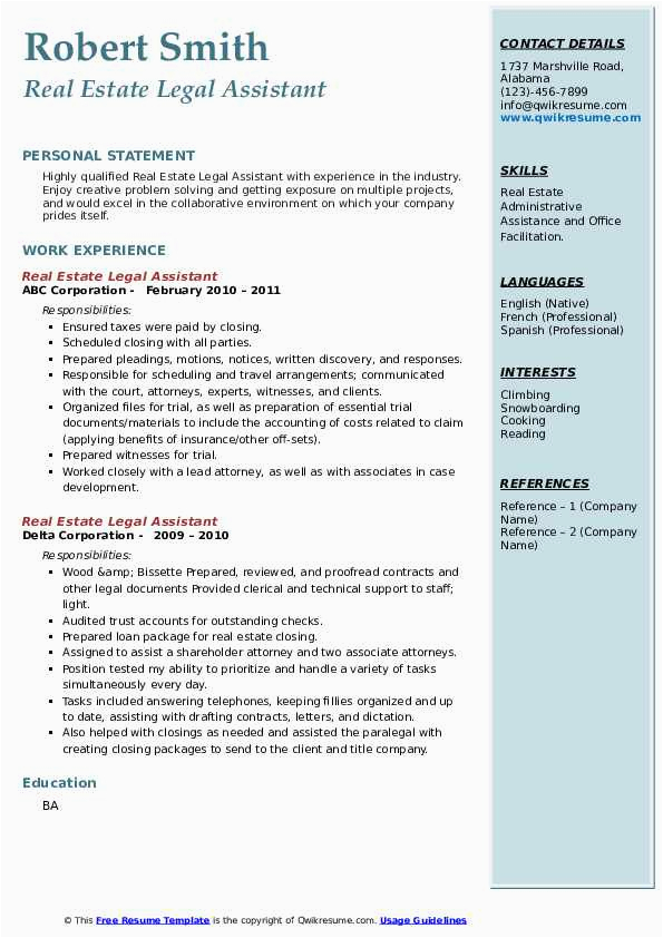 Real Estate Legal assistant Resume Sample Real Estate Legal assistant Resume Samples