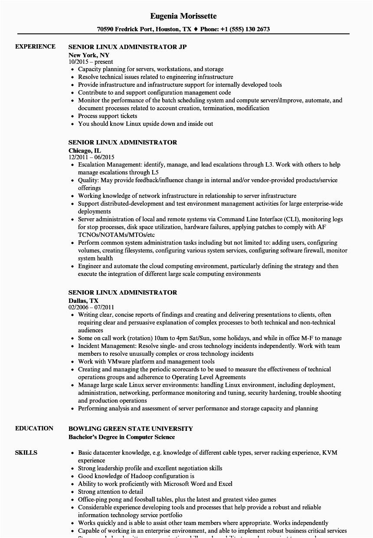 senior linux administrator resume sample