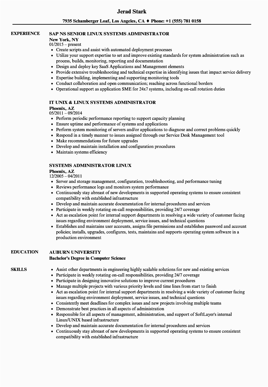 systems administrator linux resume sample