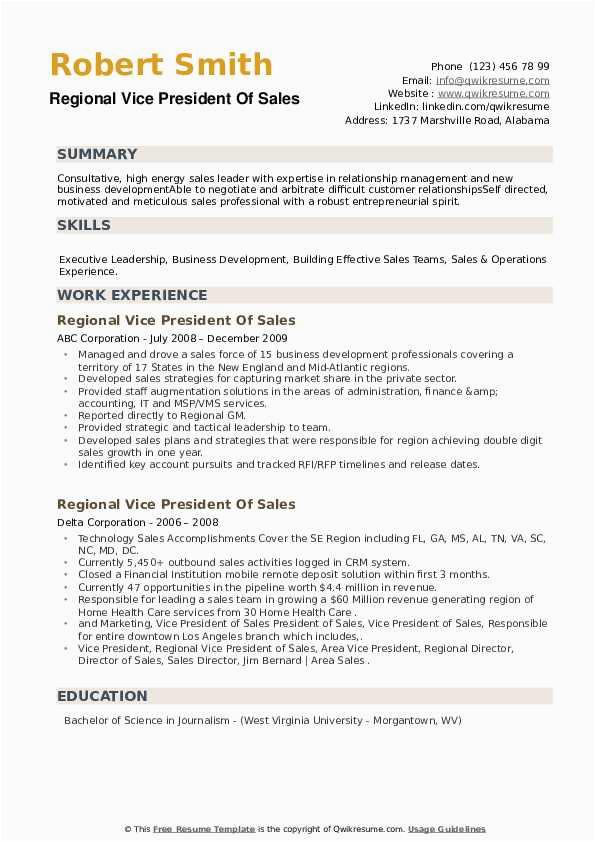 regional vice president of sales