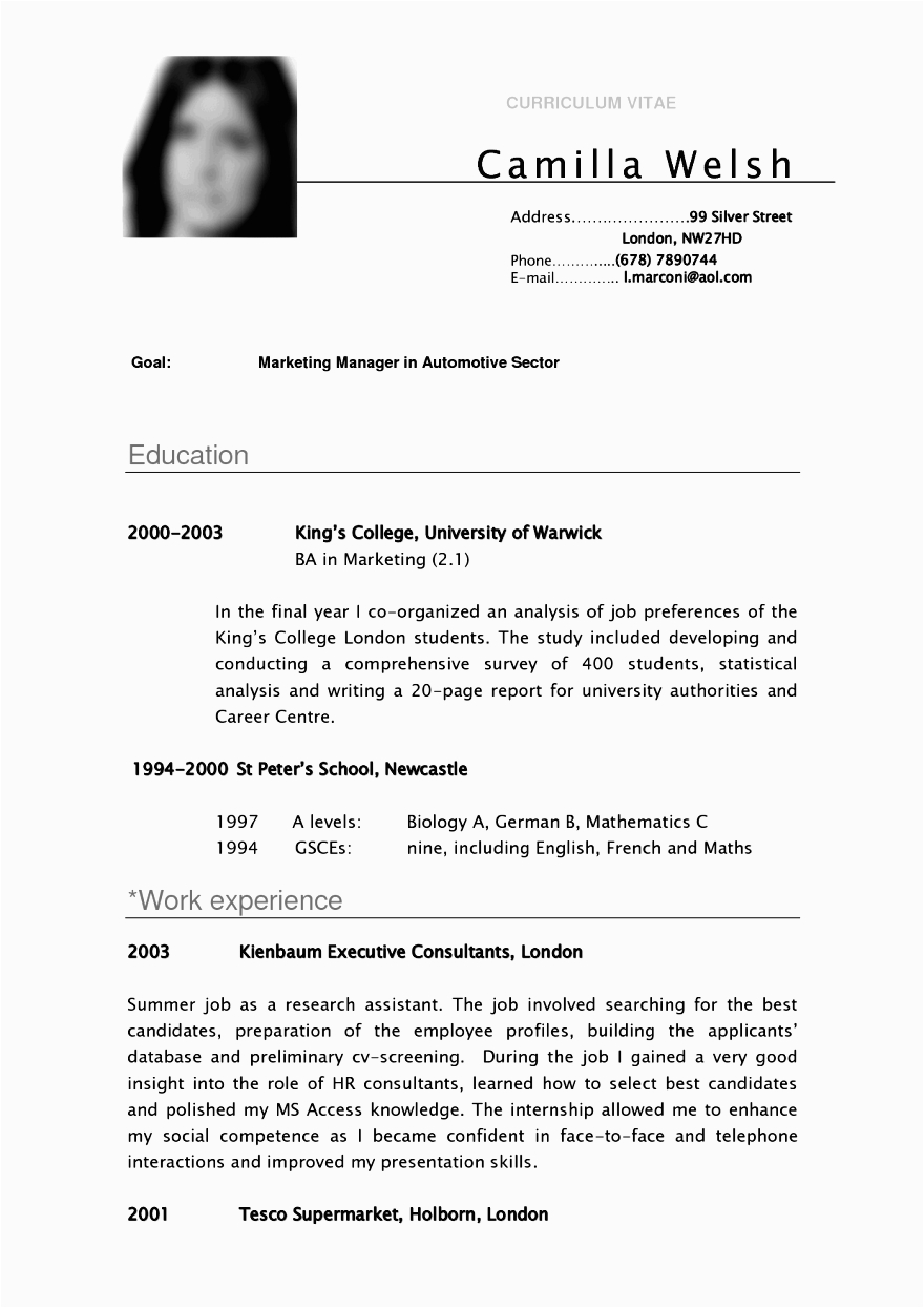curriculum vitae for masters application sample