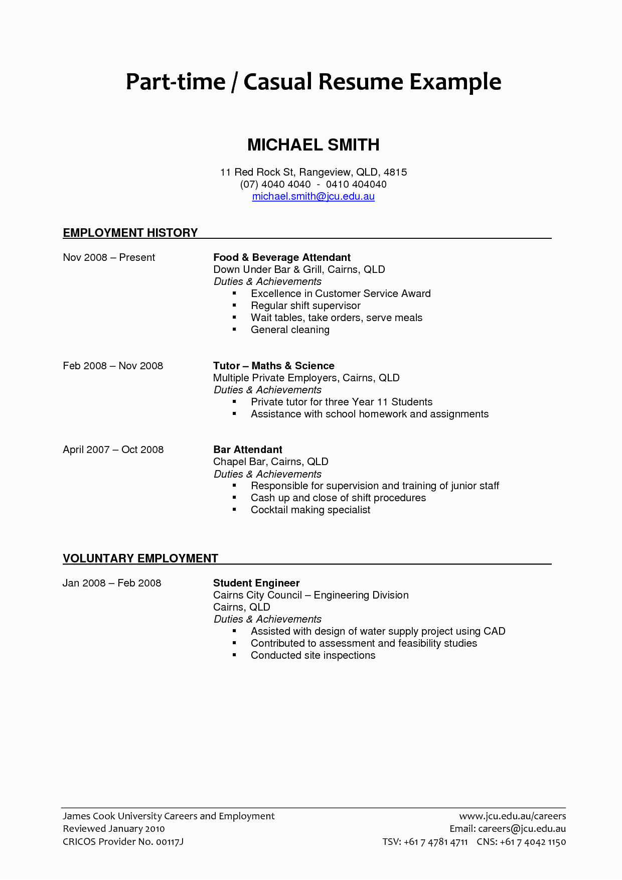 part time job resume examples 2017 for a student