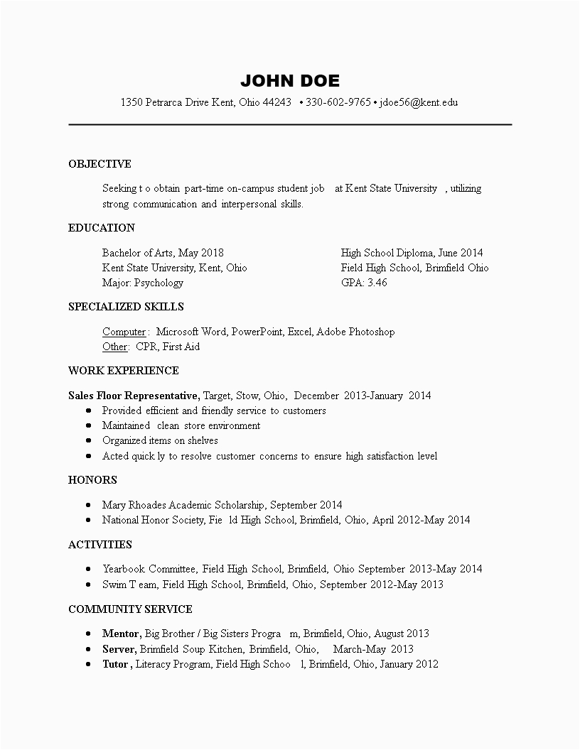Resume Part Time Job Sample Student Part Time Student Job Resume format