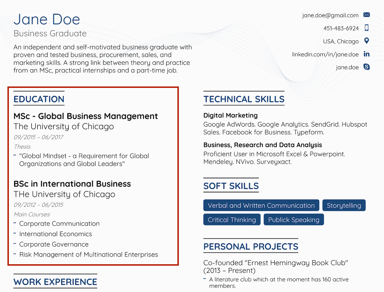 job resume for fresh graduate without