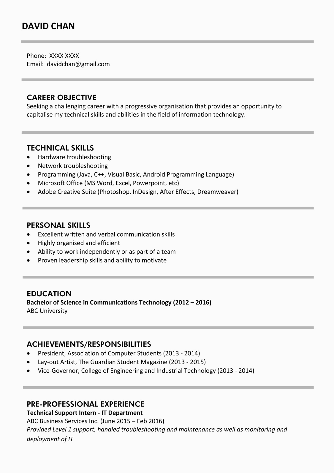 resume example for fresh graduate without experience