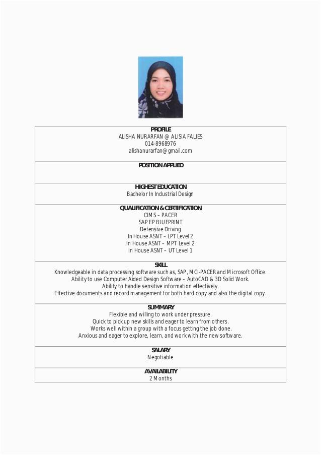 contoh resume pemandu lori