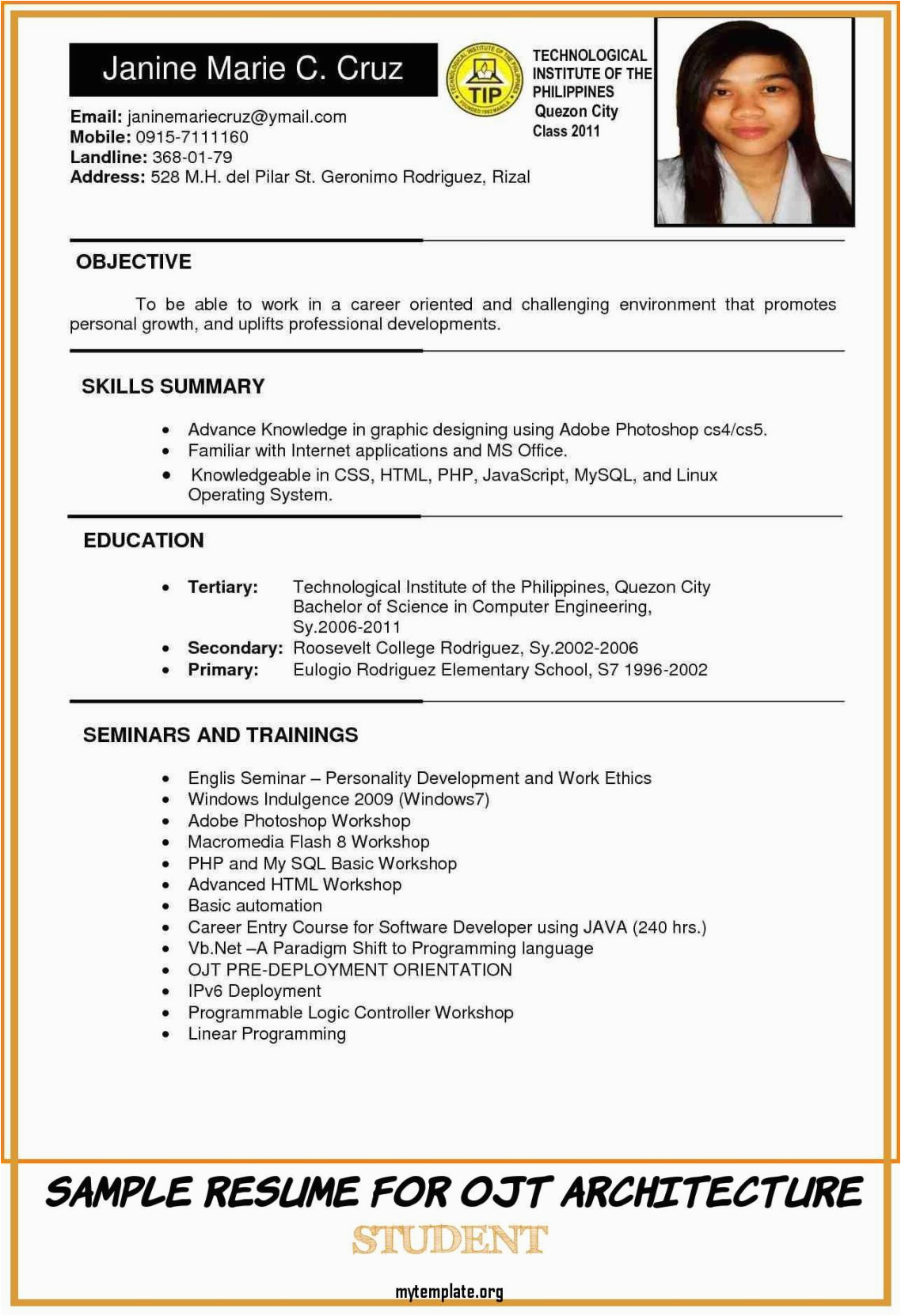 sample resume for ojt architecture student of resume sample format in philippines valid 6 example
