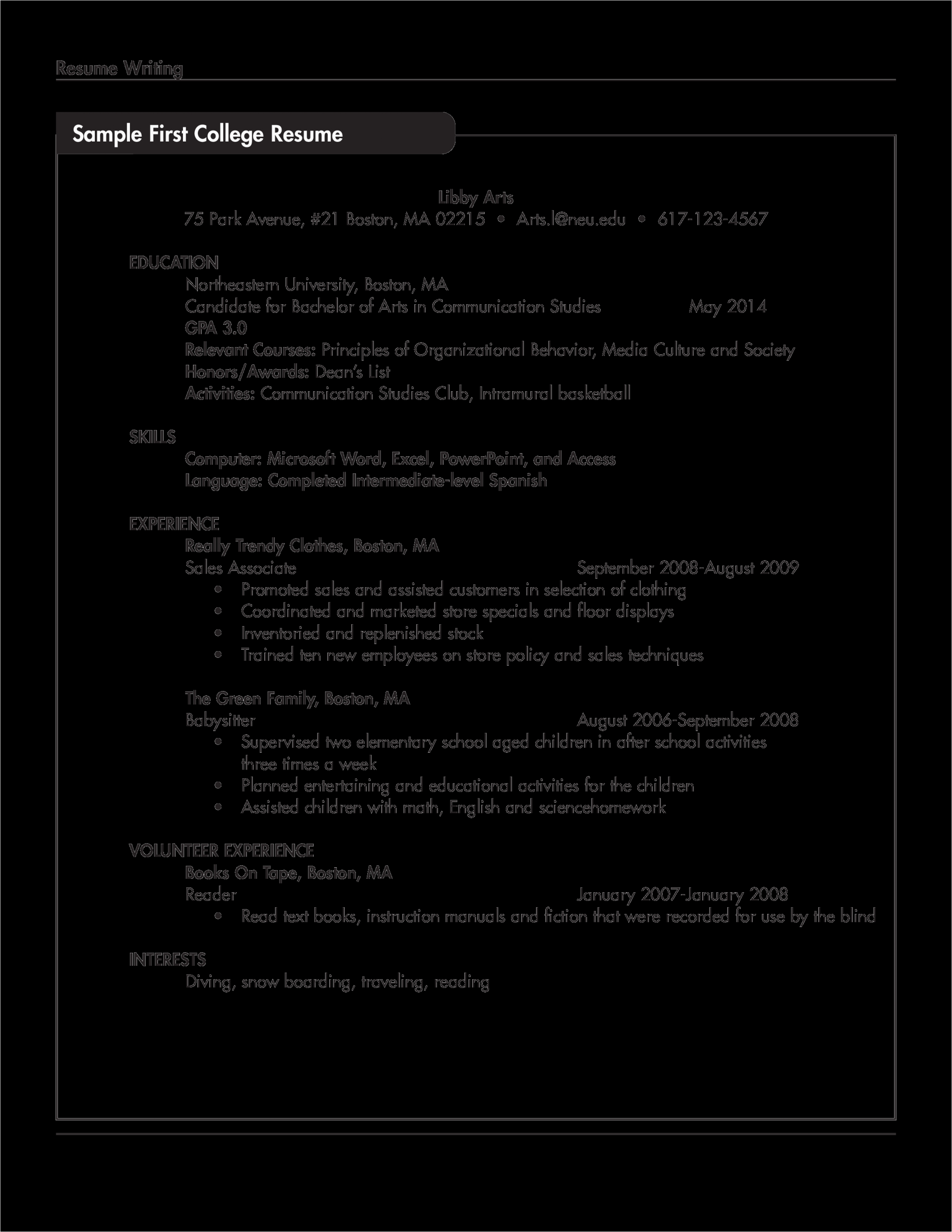 Resume Sample for someone with No Work Experience 免费 Sample Resume for College Student with No Work