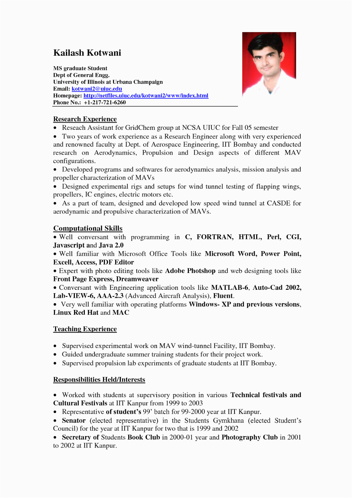 resume sample for students with no