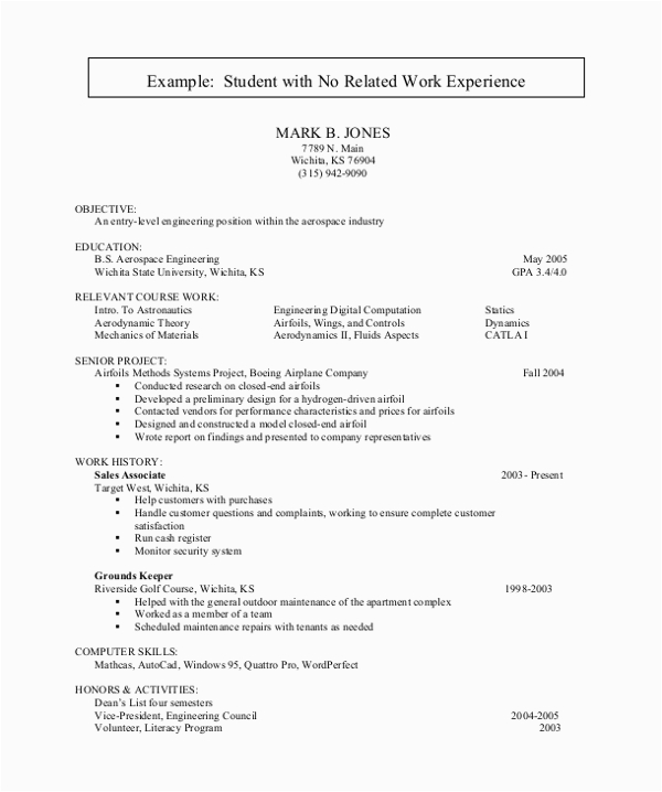 Resume Sample for Students with No Experience Student Resume with No Experience Examples