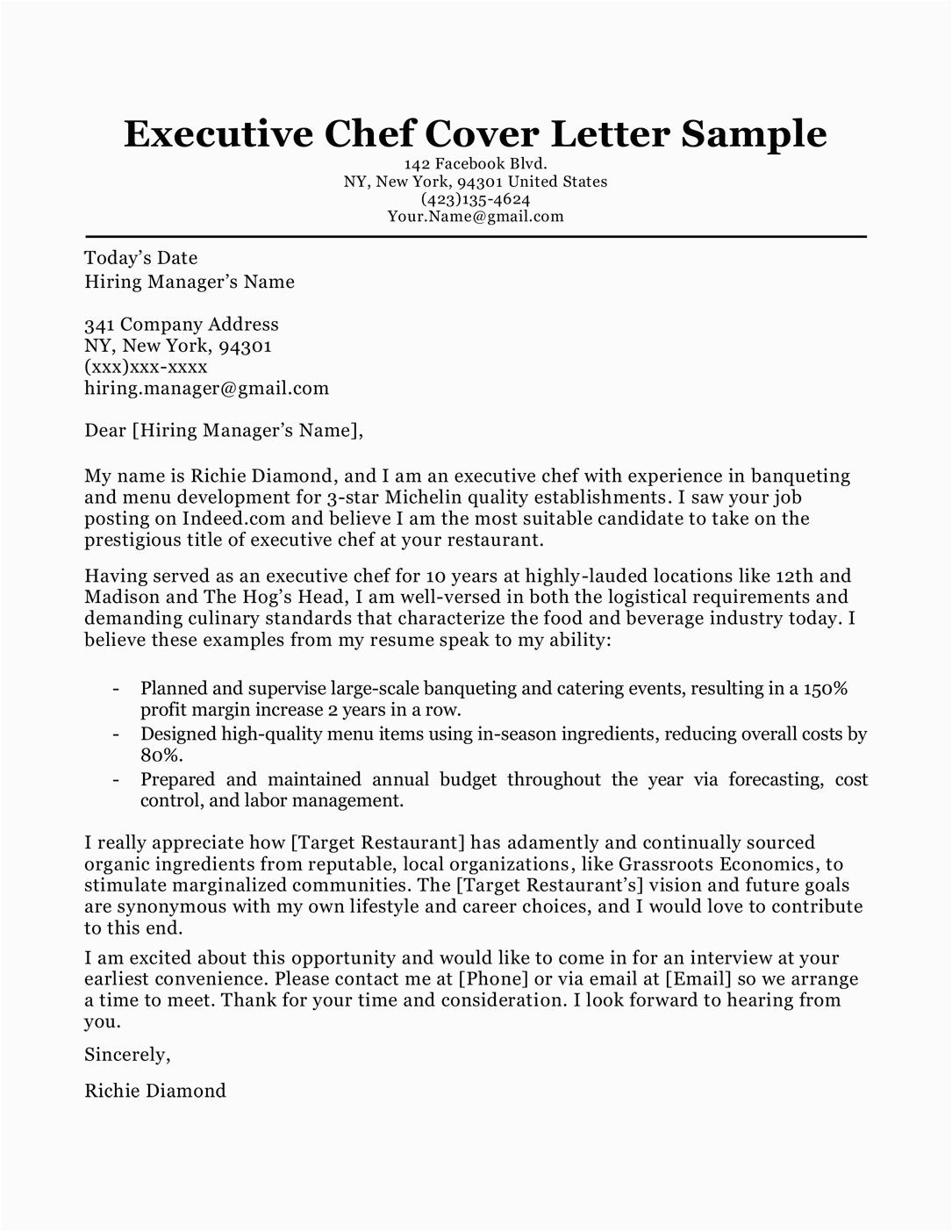 Sample Cover Letter for Chef Resume Chef Cover Letter Sample & Writing Tips