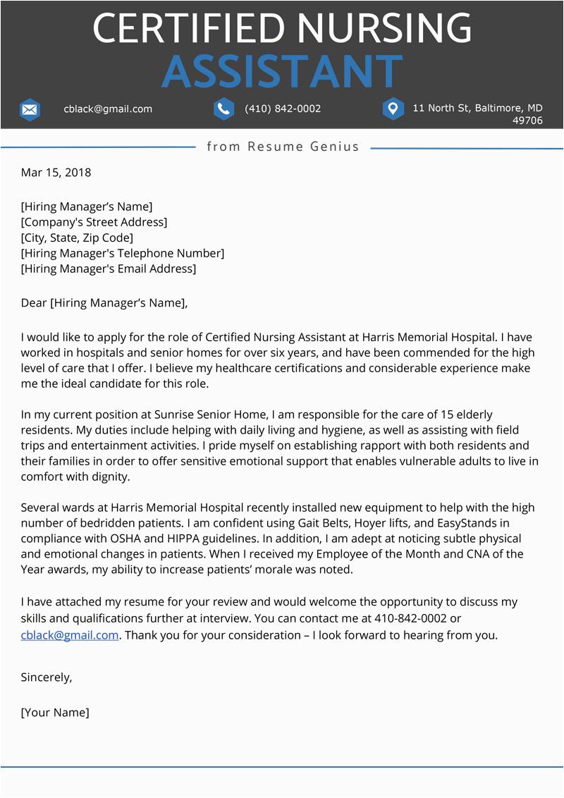 Sample Cover Letter for Cna Resume Certified Nursing assistant Cna Cover Letter