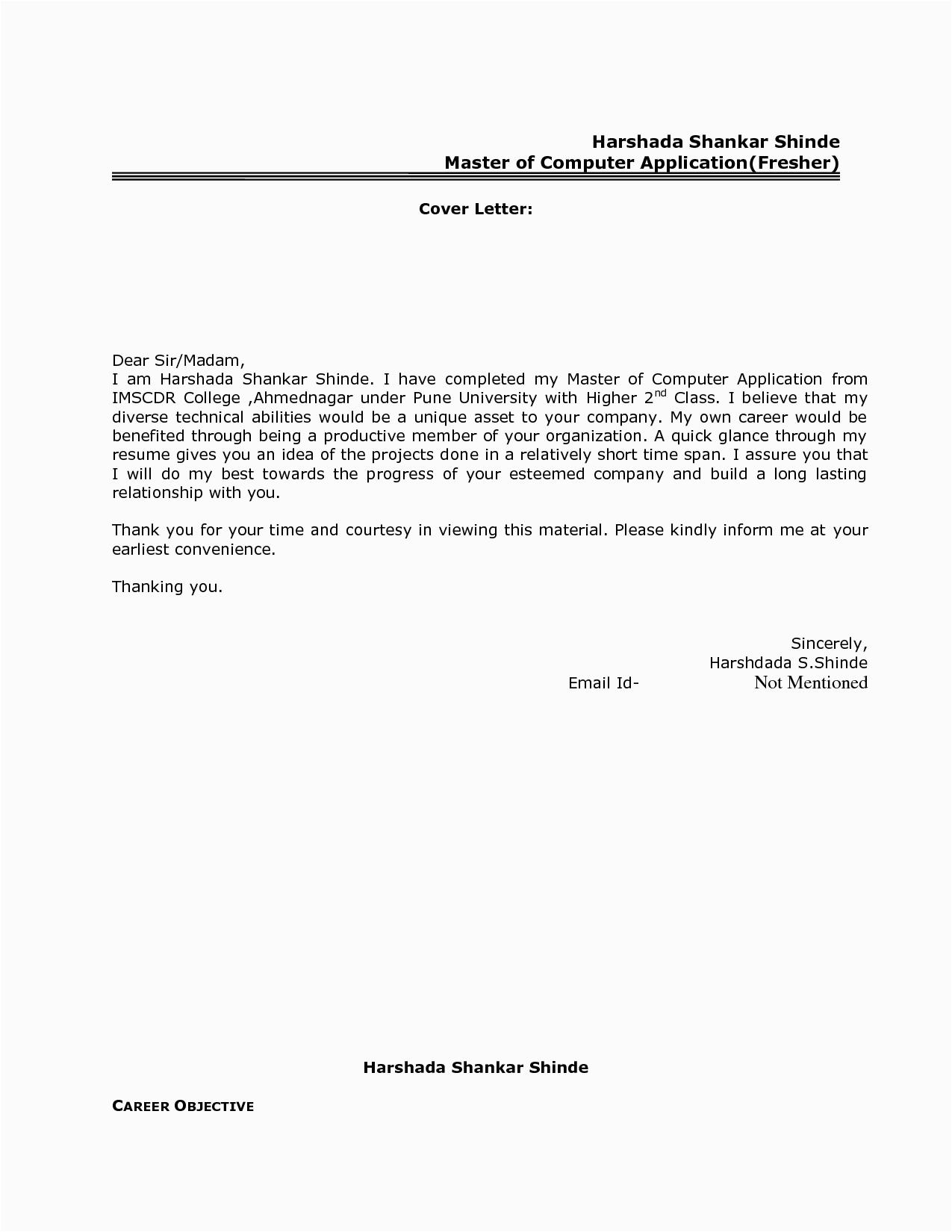Sample Email to Send Resume for Job Fresher Best Resume Cover Letter format for Freshers Govt Jobcover