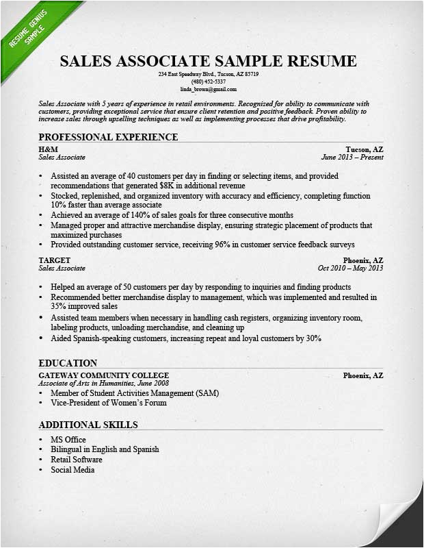 Sample Of A Sales associate Resume Retail Sales associate Resume Sample & Writing Guide