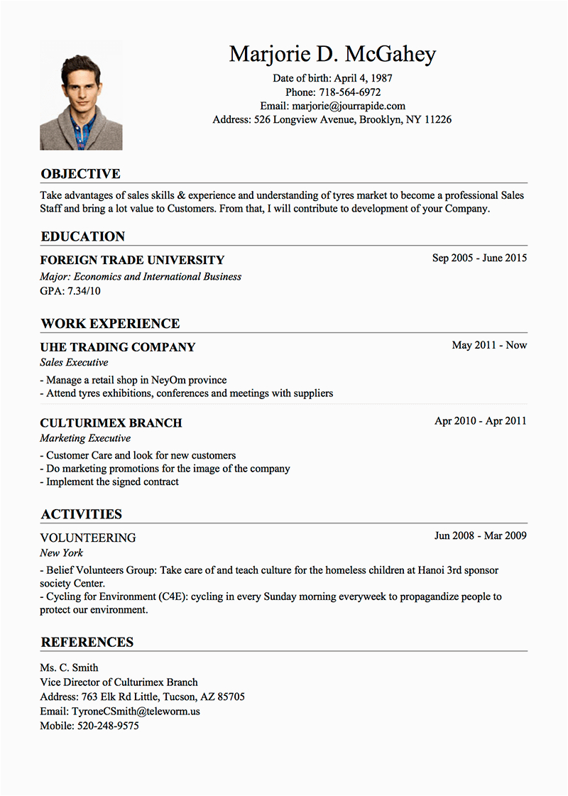 about me sample for resume