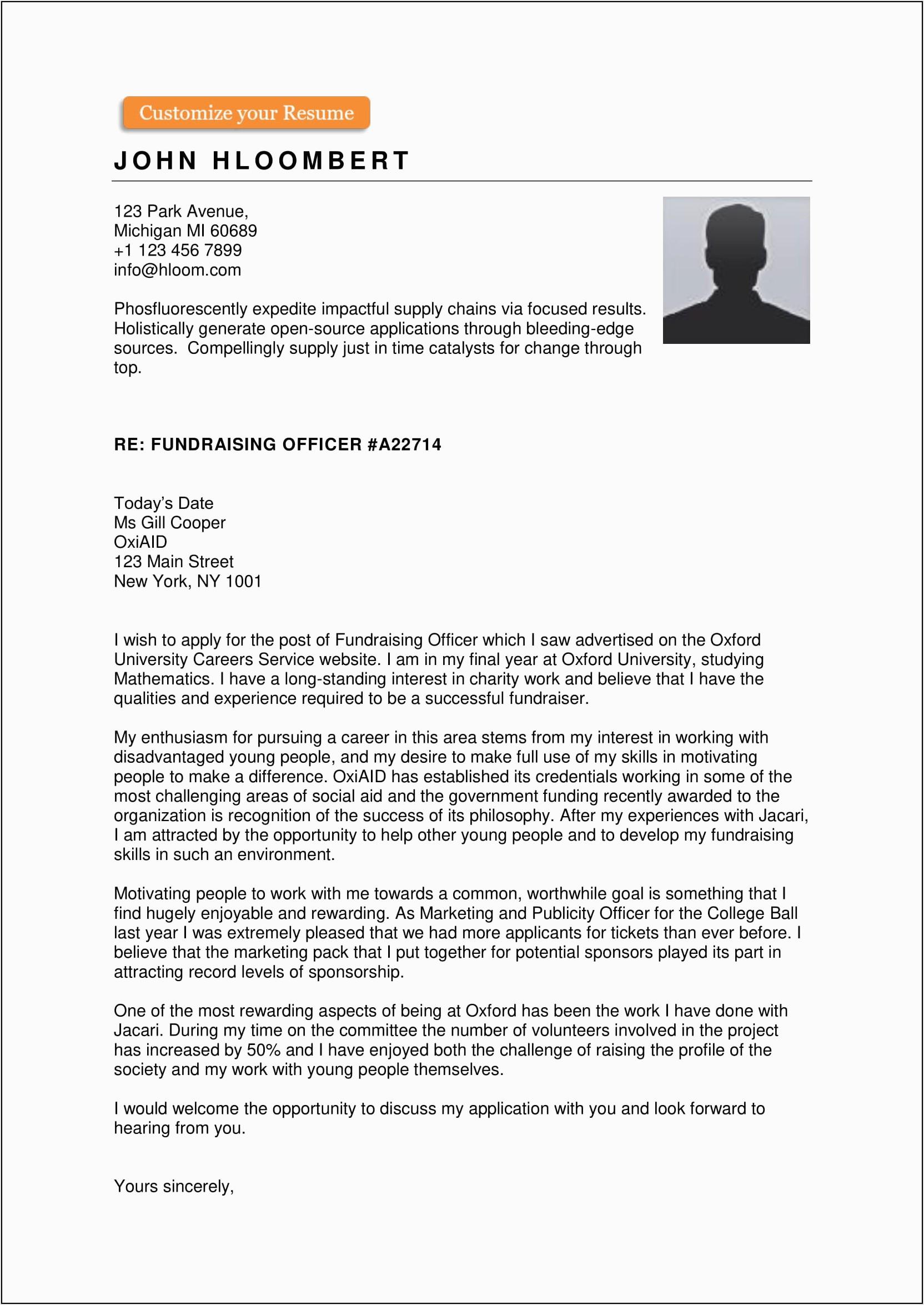 resume cover letter sample free