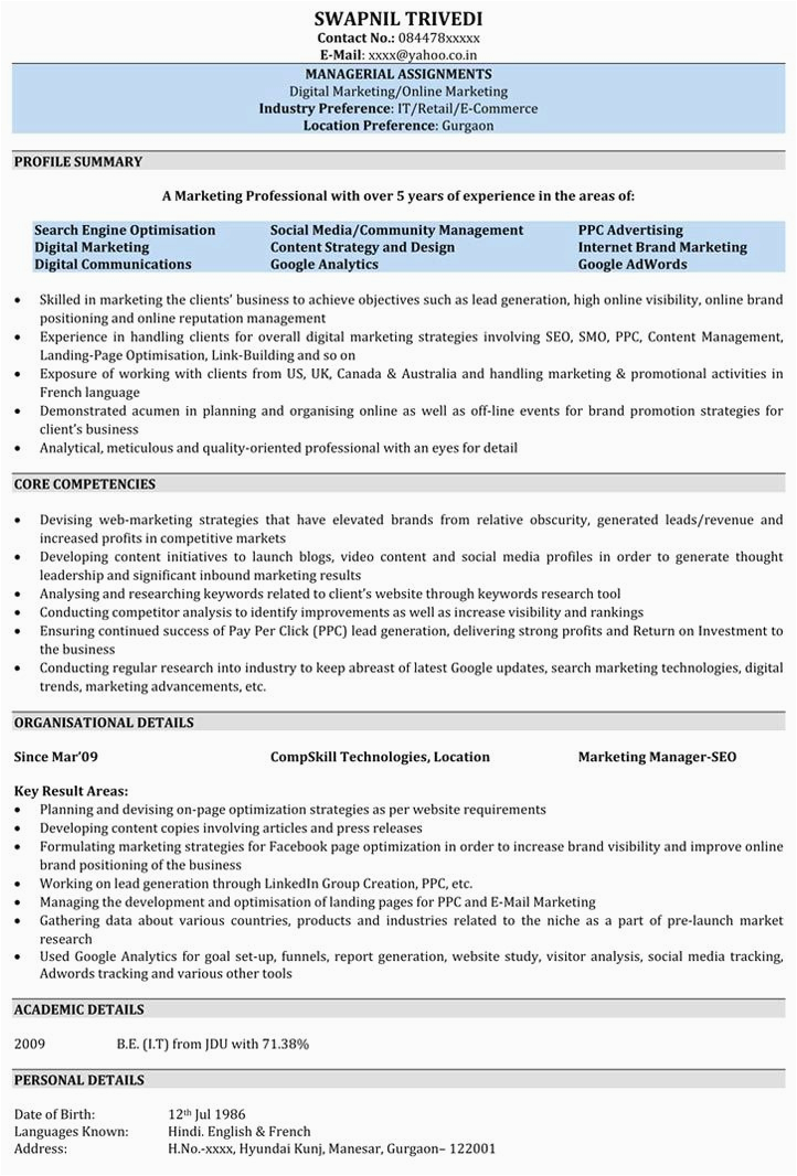 Sample Resume for 1.5 Years Experience Resume format for 5 Years Experience In Marketing Resume