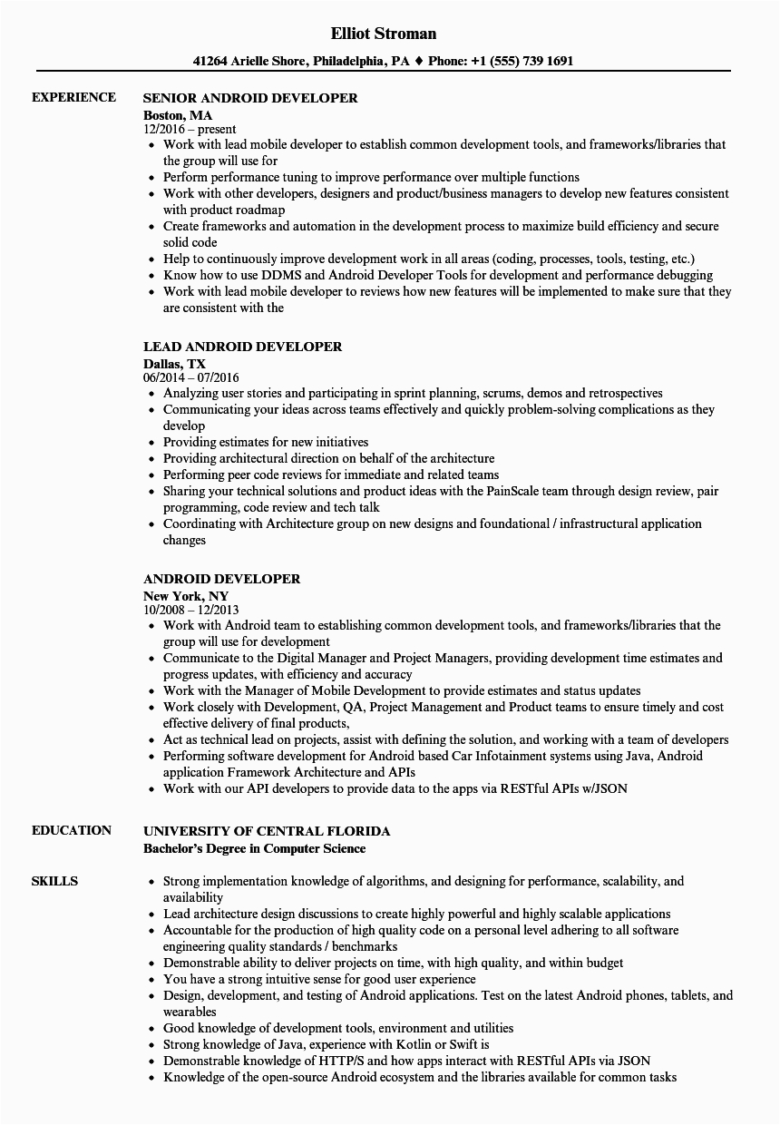 1 year experience resume for android developer