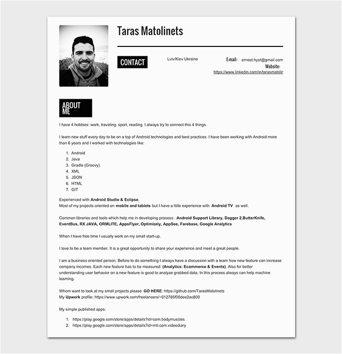 Sample Resume for 1 Year Experienced android Developer android Developer Resume Template 21 for Senior
