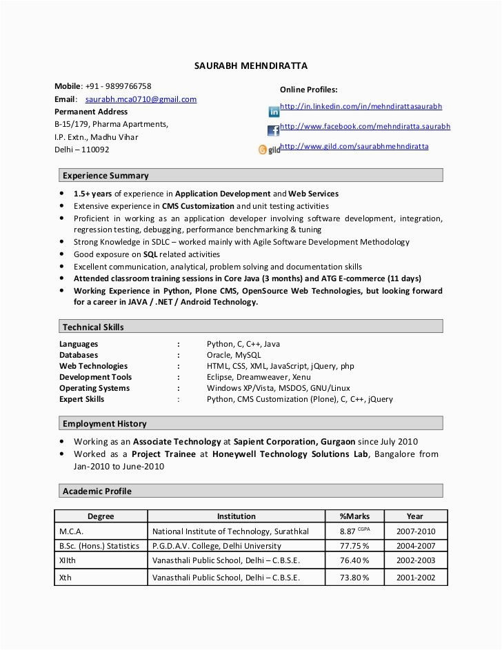 Sample Resume for 1 Year Experienced software Developer Resume format 1 Year Experienced software Engineer