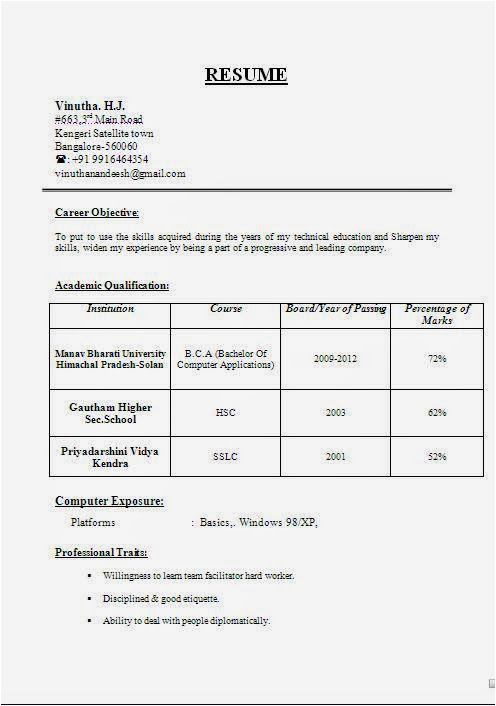 sample resume for 12th pass student