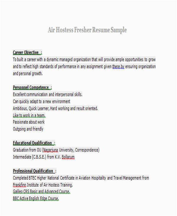 Sample Resume for Air Hostess Fresher Air Hostess Cv Sample