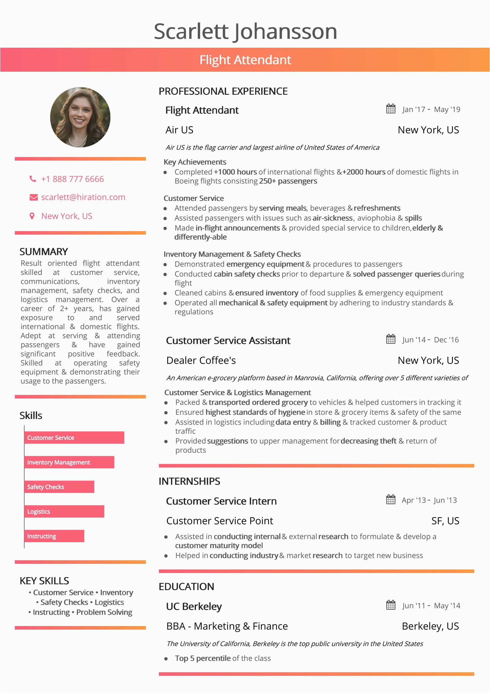 good air hostess resume template