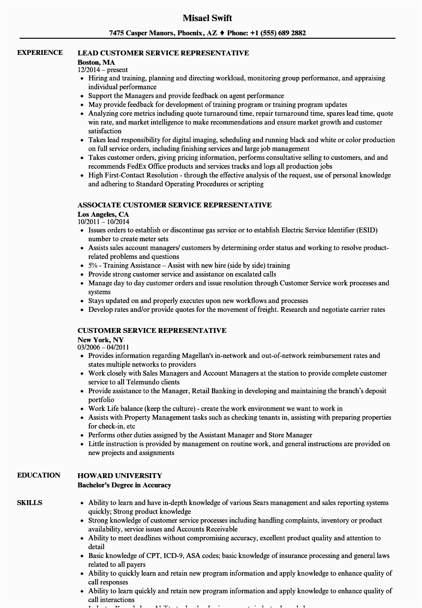 12 13 resume for a customer service rep