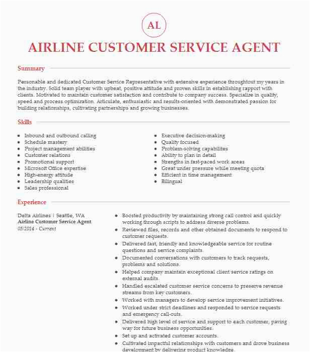 Sample Resume for Airline Customer Service Representative Airline Customer Service Agent Resume Example