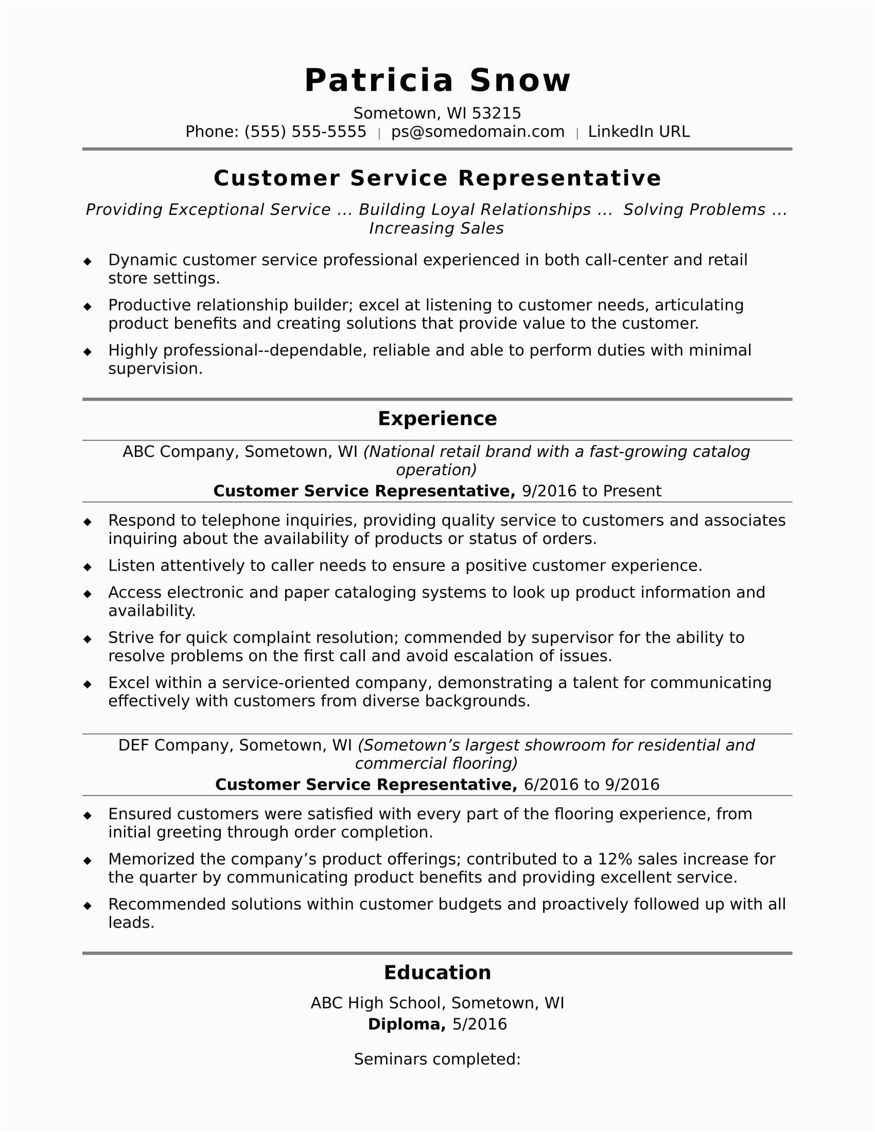 sample resume customer service representative entry level