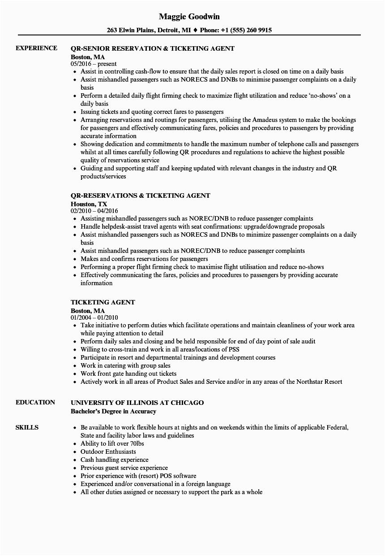 airline ticket agent job description