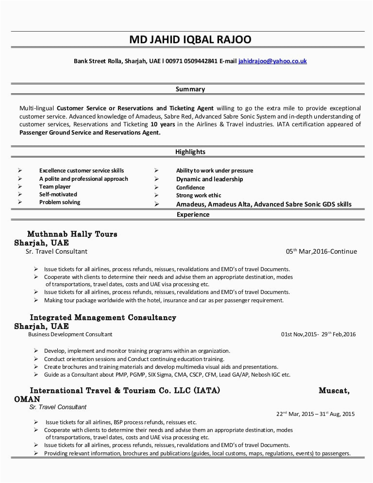 airline ticket agent resume
