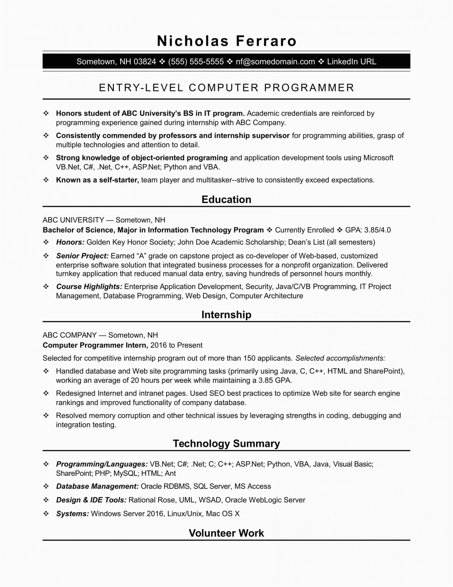 Sample Resume for An Entry Level Computer Programmer Sample Resume for An Entry Level Puter Programmer