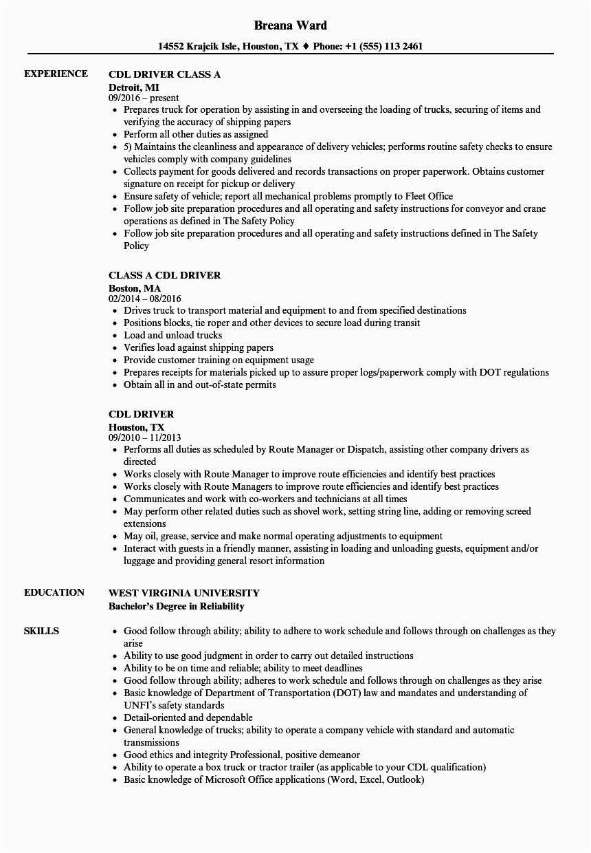 cdl driver resume sample